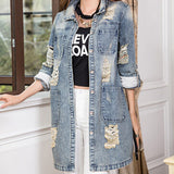 New Design Spring Autumn Fashion Denim Patchwork Overcoats Vintage Holes Loose Jeans Coats Jackets Plus Size