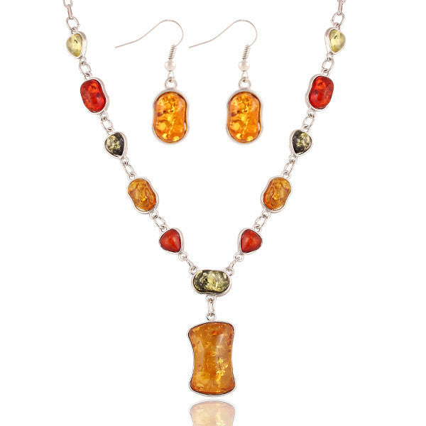 New Design Fashion High quality Natural stone Synthetic amber wedding jewelry sets Necklace Pendants Earring sets women