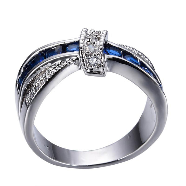 Crossed Wedding Bands.New Fashion Blue Female Ring White Gold Filled Jewelry Crossed Wedding Rings Engagement Rings For Women