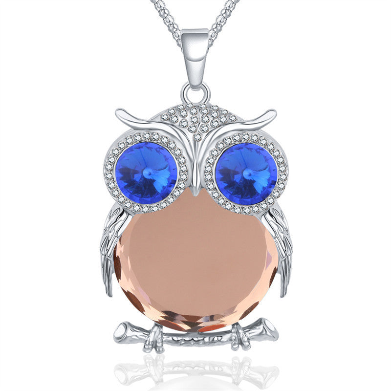 New Fashion Charms Crystal Owl Necklace Rhinestone Gem Cubic Zircon Diamond Long Chain Necklaces&Pendants Women Jewelry