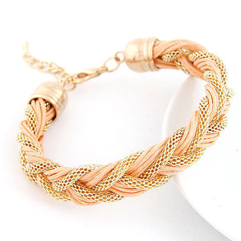 New Fashion Charms Punk Bracelet Vintage Woven Metal Winding Braided Rope Bracelet Women Fine Jewelry