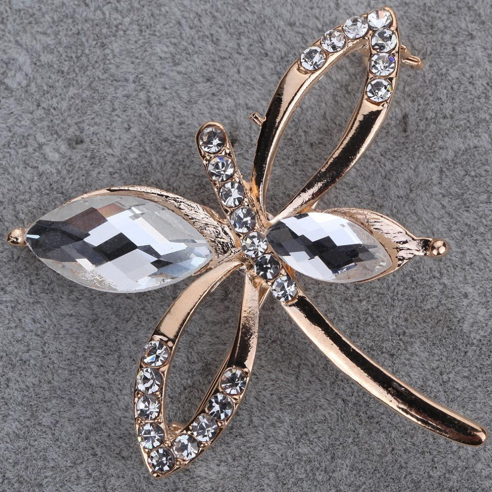 New Fashion Clear Crystal Gold Plated Cute Butterfly Brooch Pin Jewelry Women