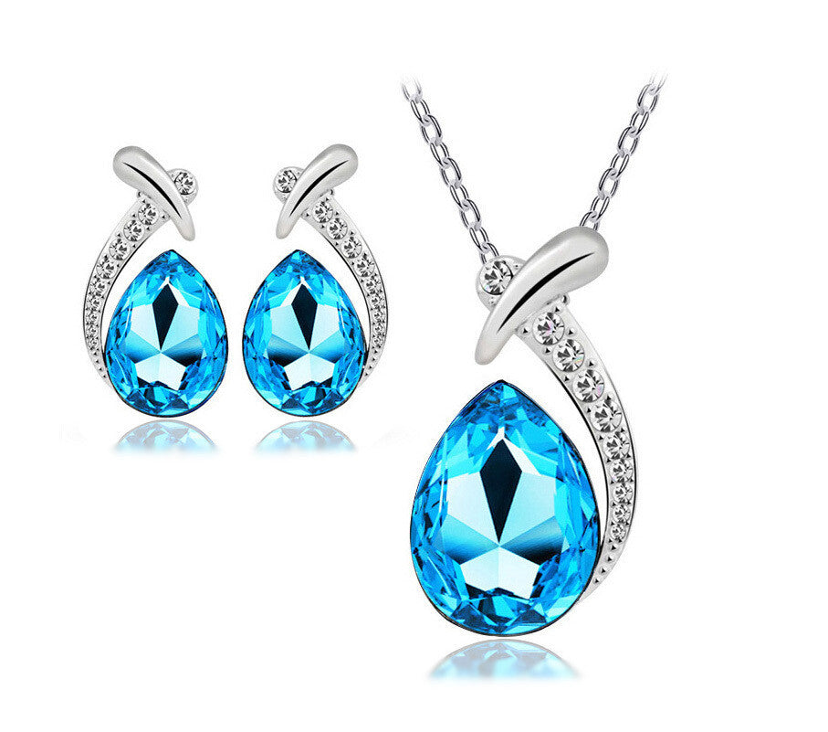 New Fashion Jewelry Set Necklace Pendant and Earring Austrain Crystal Jewelry Set For Women