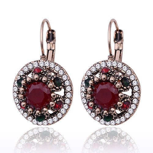 New Fashion Jewelry Round Crystal Rhinestones Vintage Drop Earrings Women Hanging Earrings Accessories