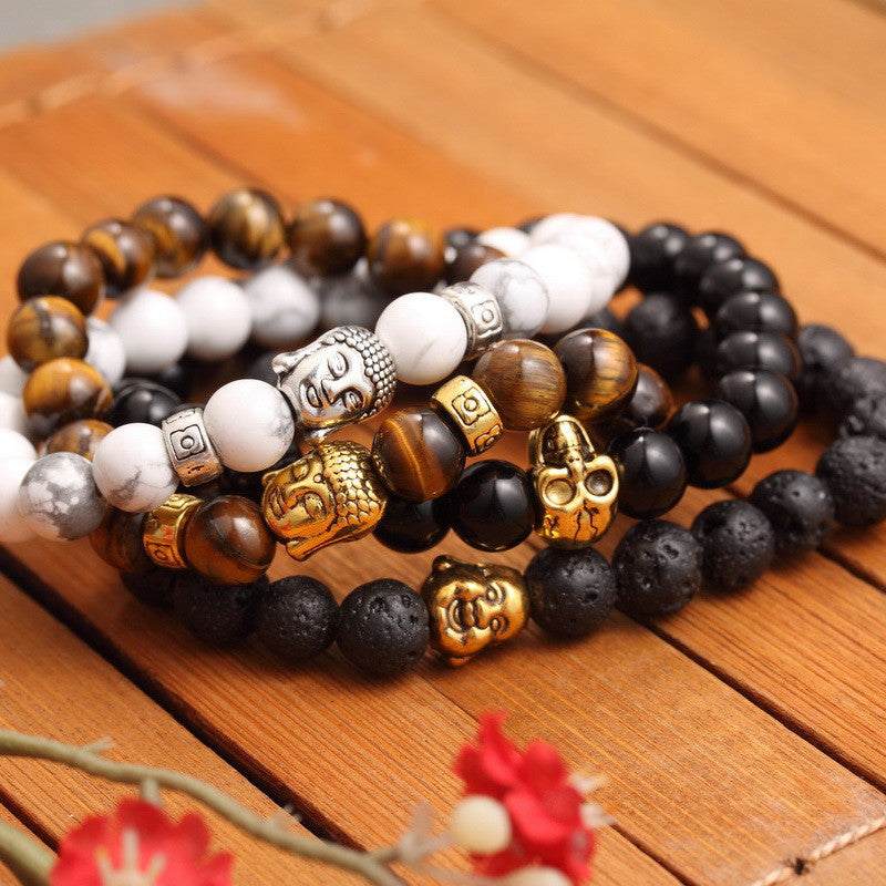 New Fashion Men's Bracelet Gold Silver Buddha skull Elastic Black Color Beaded Tibet Charm Lucky bracelets for women