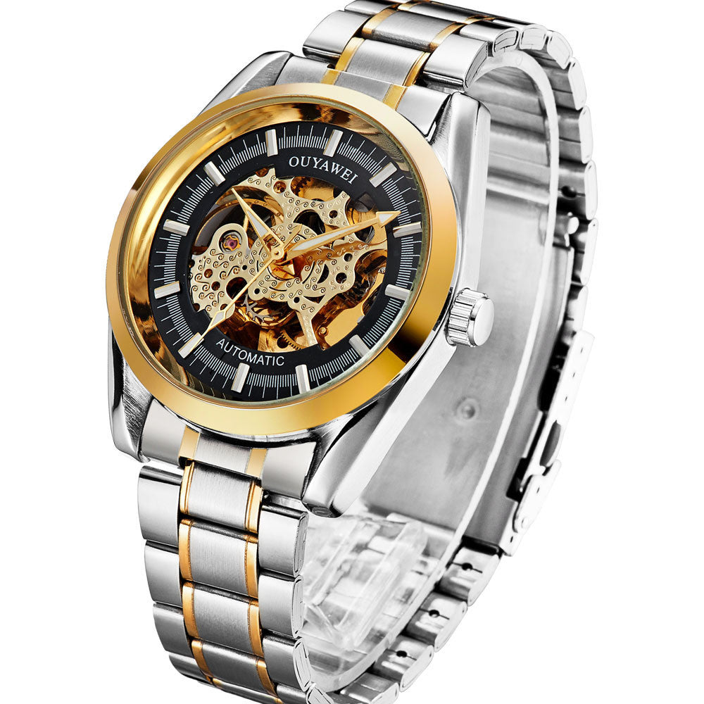 New Fashion Watch Luxury Brand Golden Black Dial Moon Phase Round Shape Stainless Steel Case Men Self-Wind Skeleton Watch Male