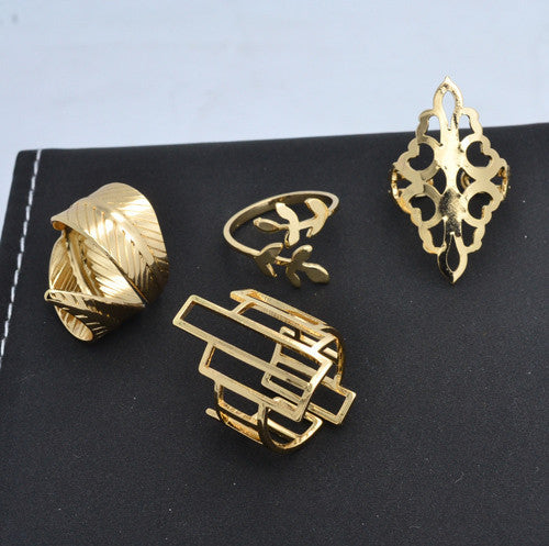 New Fashion jewelry hollow tree leaf Geometric finger ring set 1set=4pieces gift for Valentine's Day