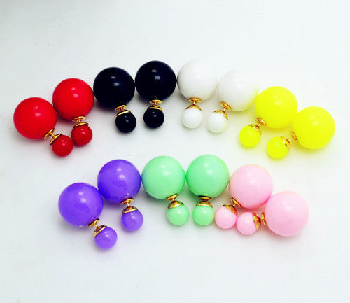 New Fashion jewelry double side 16MM pearl stud gift for women girl mix color