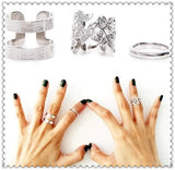 New Fashion jewelry hollow flower finger ring set for women girl lovers' gift wholesale 1set=3pcs