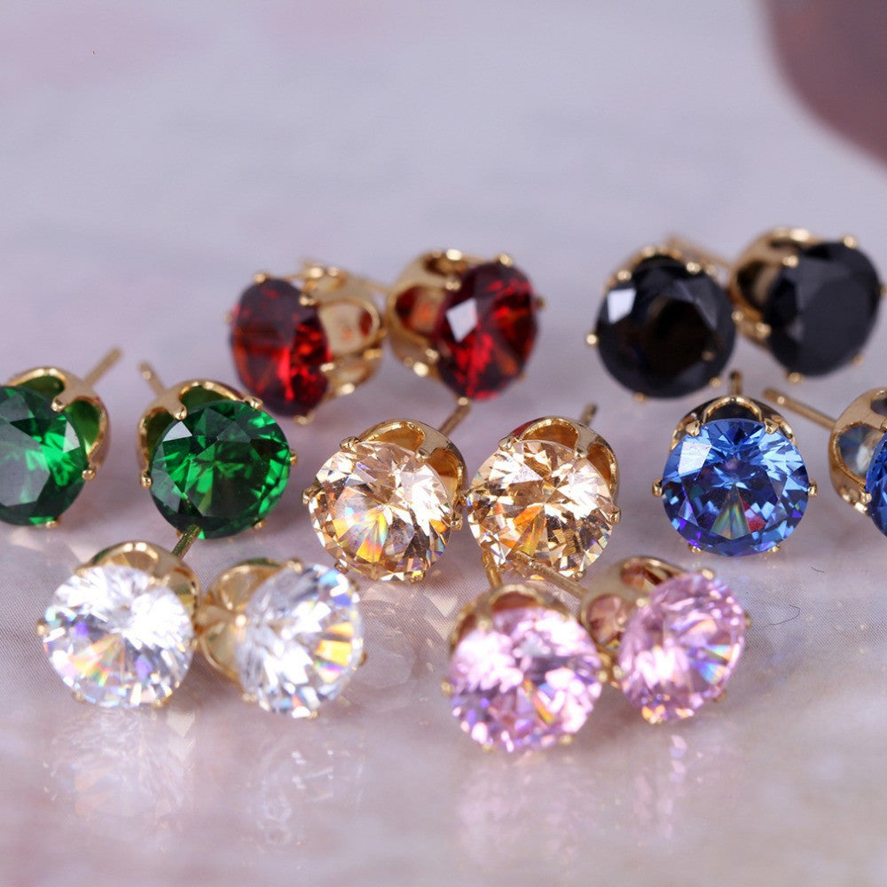 New Fashion round favorite design 18 K gold plated stud earring for women-6pair/set