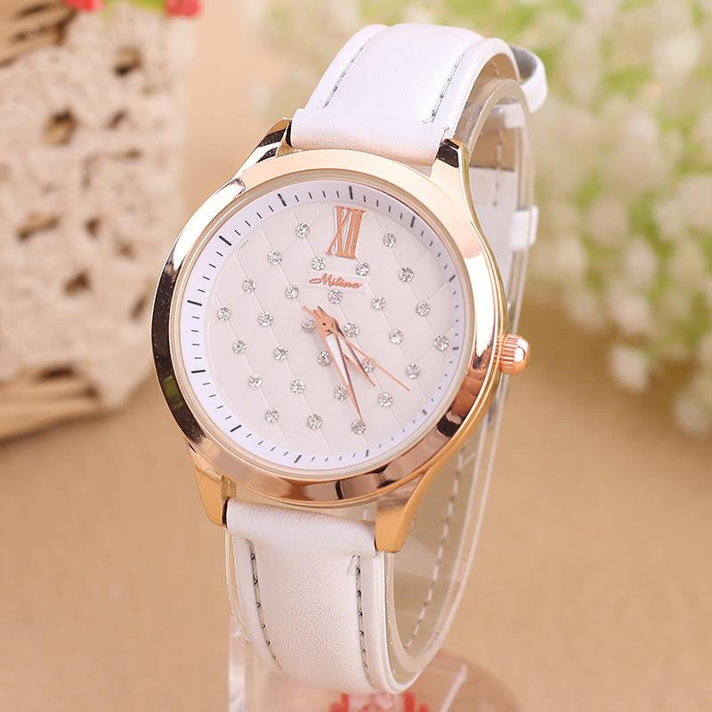 New Hot Design Reloj Mujer Relogio Rhinestone Ladies Leather Wrist Watch Quartz Watch Women Dress Watch