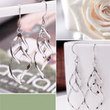 New Hot Fashion Hollow Metal Flower Plating Silver Leaf Drop Earrings Jewelry Multilayer Tassel long Earrings