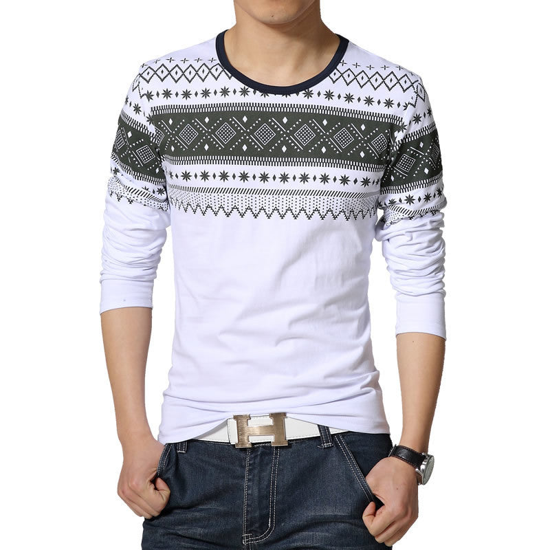 New Mens Long Sleeved T-Shirts Korean Version Of Trend Fashion Casual Slim Fit TShirt