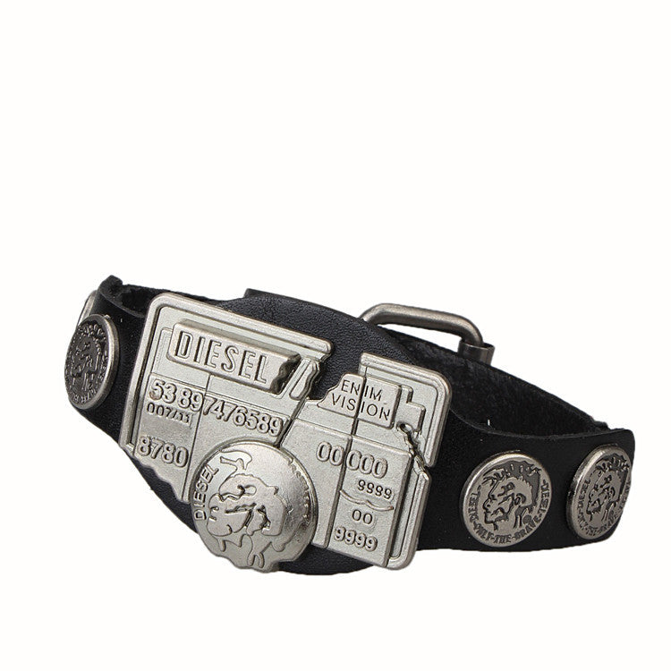 Leather Bracelet Men Jewerly Brand Logo Charms Bracelets Mens Vintage Pulseira Masculina Punk Rock Wristband