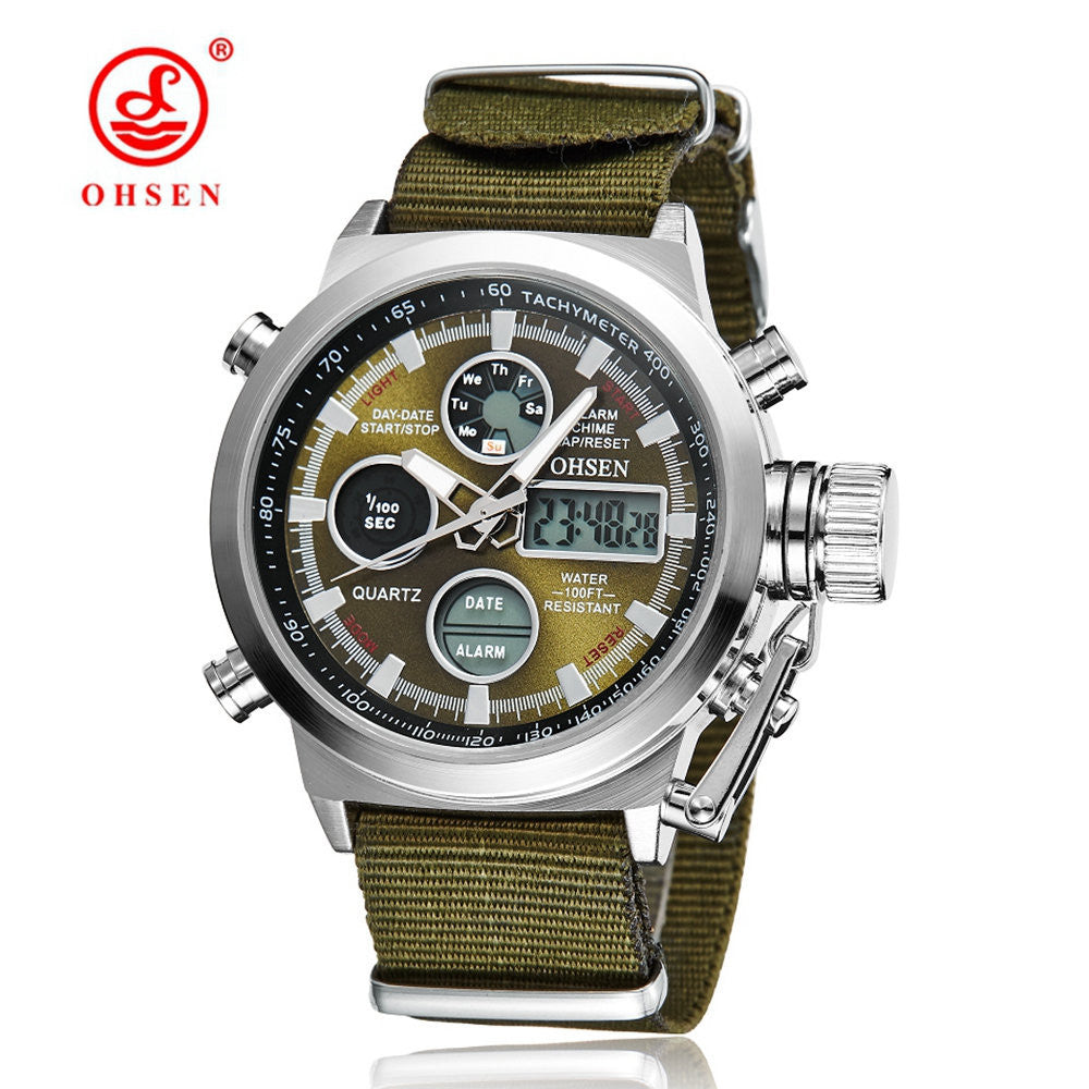 New OHSEN Men Watch Dual Time Zone Alarm LCD Sport Watch Mens Quartz Wristwatch Silicone Waterproof Dive Sports Digital Watches
