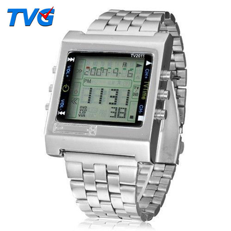 New Rectangle TVG Remote Control Digital Sport watch Alarm TV DVD remote Men and Ladies Stainless Steel WristWatch Fashion