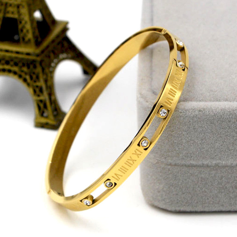 New Roman Letters Bracelets & Bangles For Women Girl Austrian Crystal 18K Gold Plated Fashion Jewelry Bracelet Gifts Pulseira