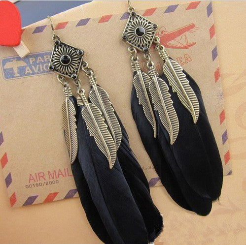 New Fashion Charms Vintage Leather Drop Long Earrings feather black dangle earrings Jewellery
