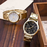New Stainless Steel Geneva Watch Business Gold Wristwatch Quartz Watches Men Casual Wrist Watches