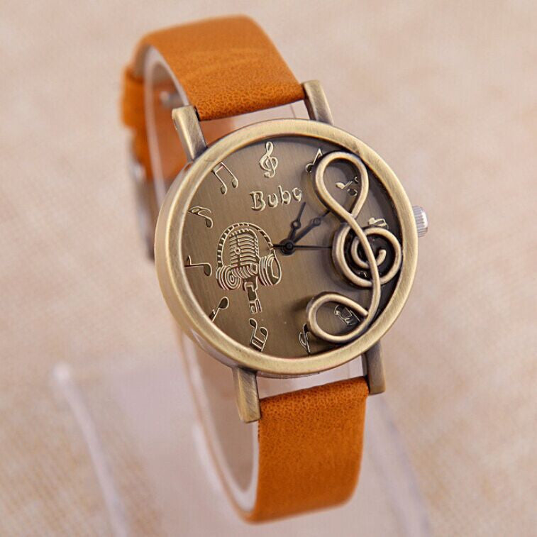 Vintage Copper Alloy Modern musical symbols Dress watches Personality Popular high-end Leather Strap Quartz Casual Watches gift