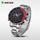 Luxury WEIDE Brand Men Military Sports Watches Men's Quartz LED Digital Hour Clock Male Full Steel Wrist Watch