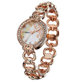 New Women Fashion Casual Watch Rose Gold Crystal Full Stainless Steel Bracelet Analog Display Luxury Women Rhinestone Watches