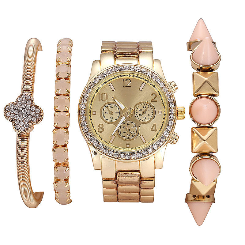 New Women's Casual fashion Wristwatch Luxury rhinestone Bracelets strap Quartz watches Ladies Bracelet Watch Sets dress Watches