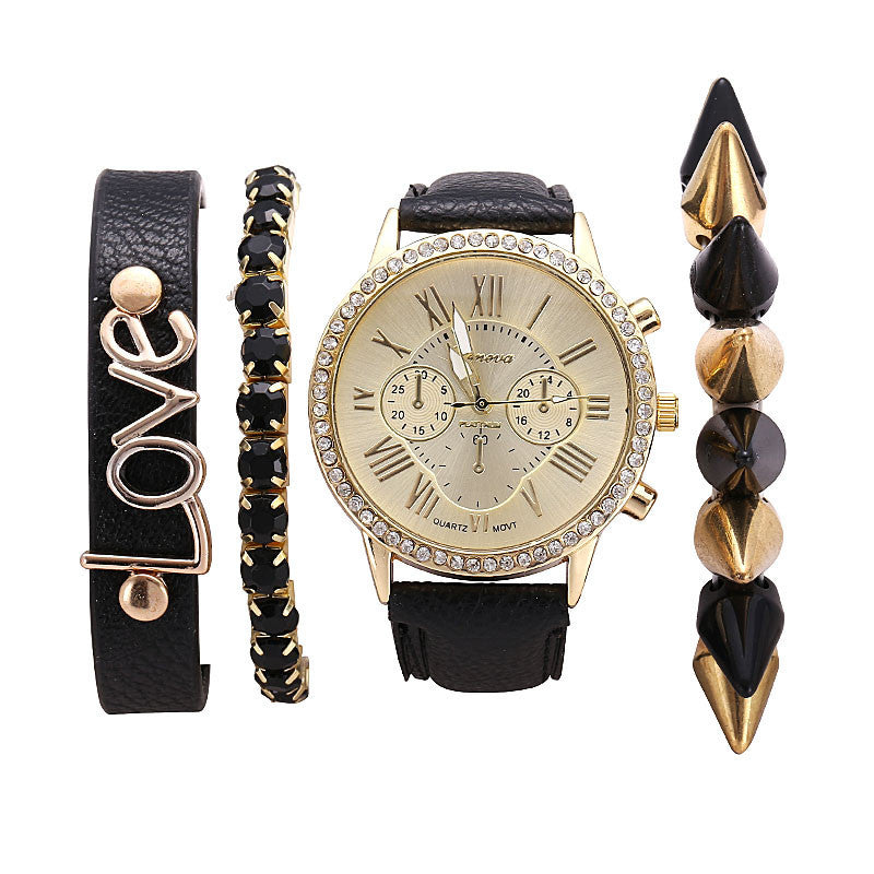 New Women's Casual fashion Wristwatch Luxury rhinestone pu leather Quartz watches Ladies Watch Sets dress Watches relojes mujer