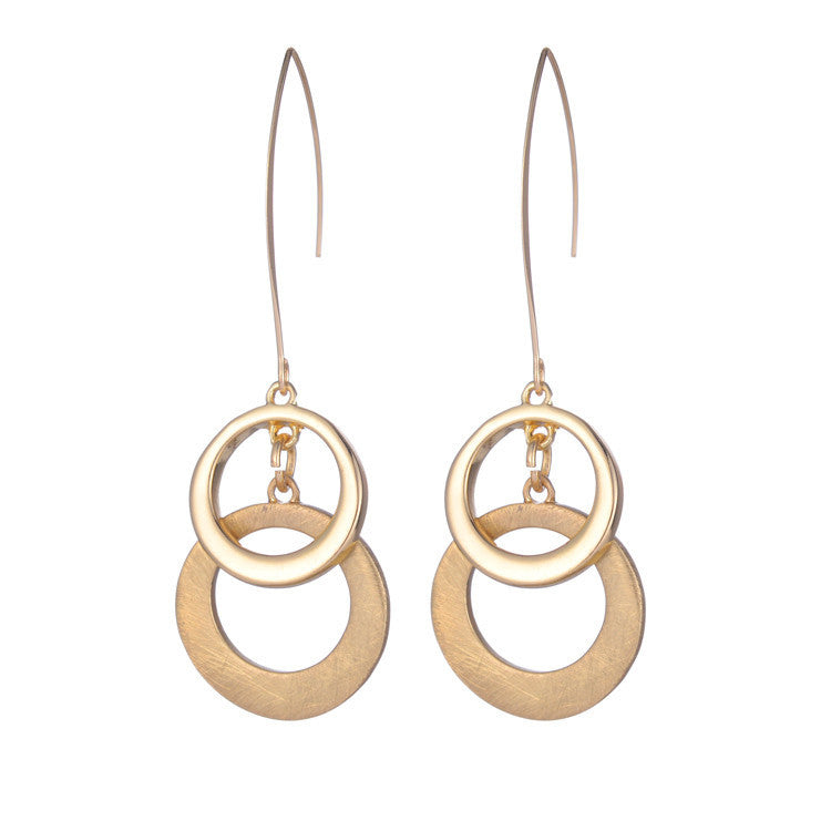 New arrival design fashion element gold silver hollow circle drop earrings