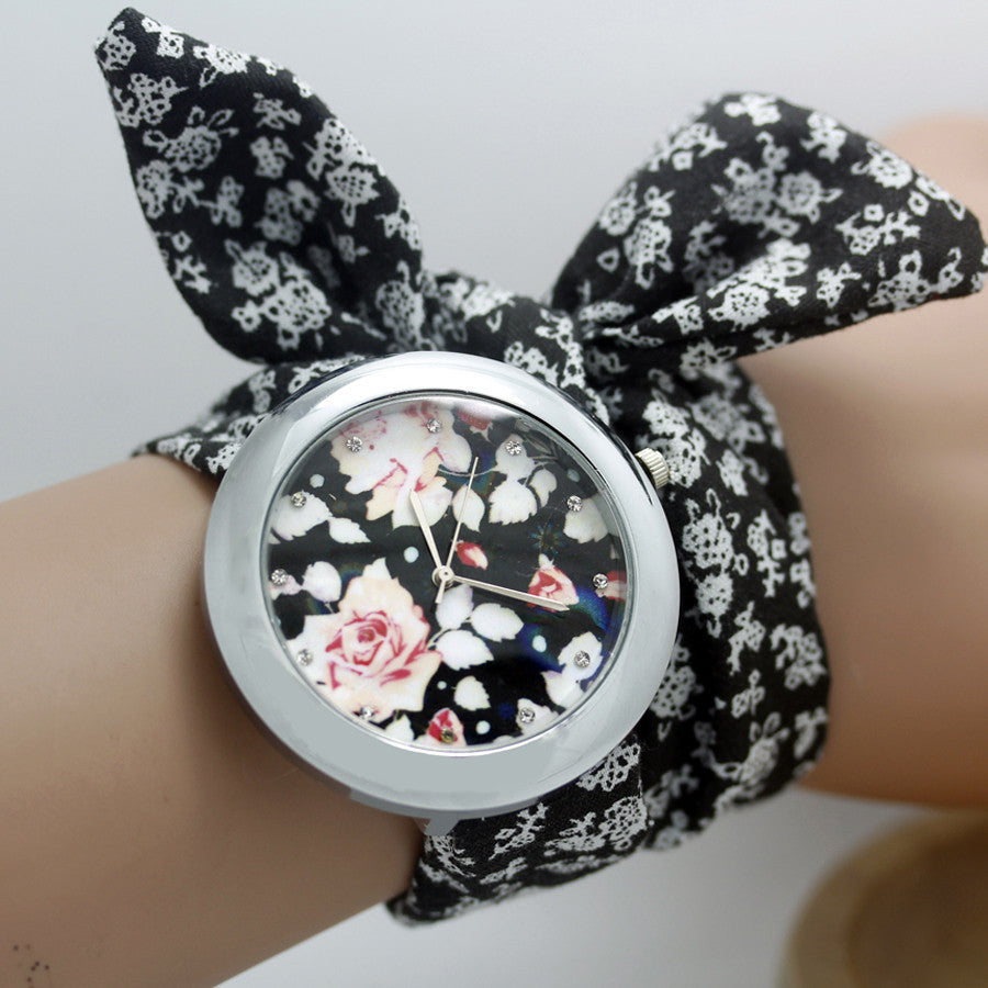 Ladies flower cloth wrist watch fashion women watches | Buycoolprice