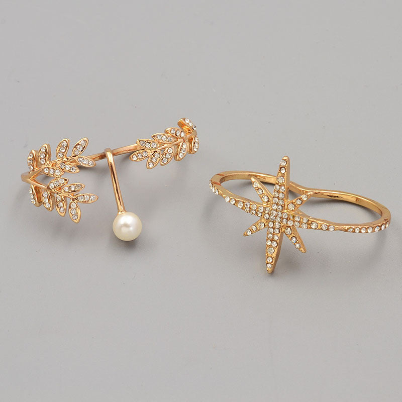 New fashion accessories jewelry full rhinestone pearl star double finger ring set for women girl nice gift
