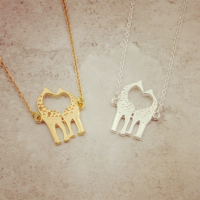 New fashion jewelry chain link double Giraffe pendant necklace for women girl nice gift