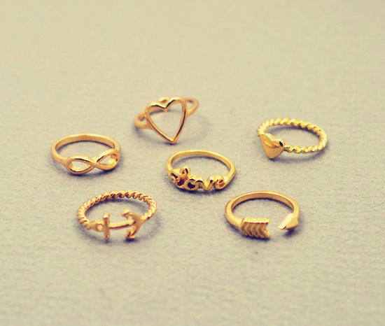 New fashion jewelry heart anchor infinity love finger ring set gift for women ladies