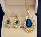 New fashion jewelry set gold plated crystal drop pendant necklace earring Top quality gift for women ladies