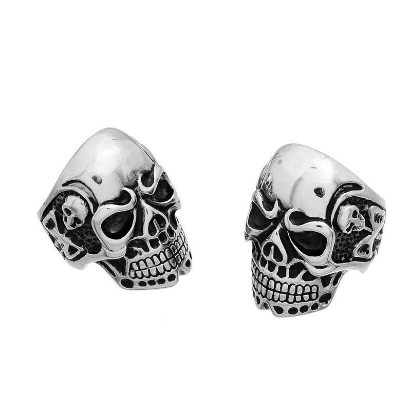 New 1PC Viking Skeleton Skull Biker Ring Stainless Steel Men Ring Finger Size 8-11 Punk Rock Jewelry Big Tripple
