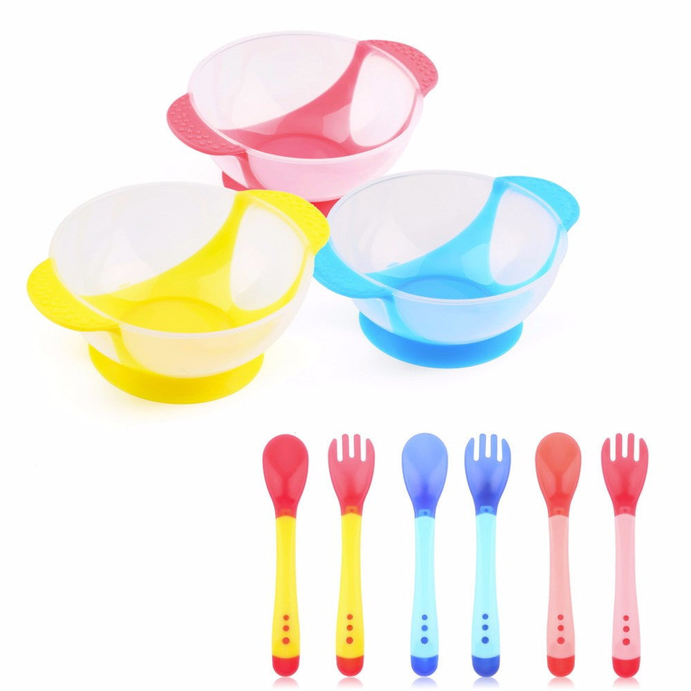 New 1Set/3Pcs Baby Spoon Bowl Learning Dishes With Suction Cup Assist food Bowl Temperature Sensing Spoon Baby Tableware
