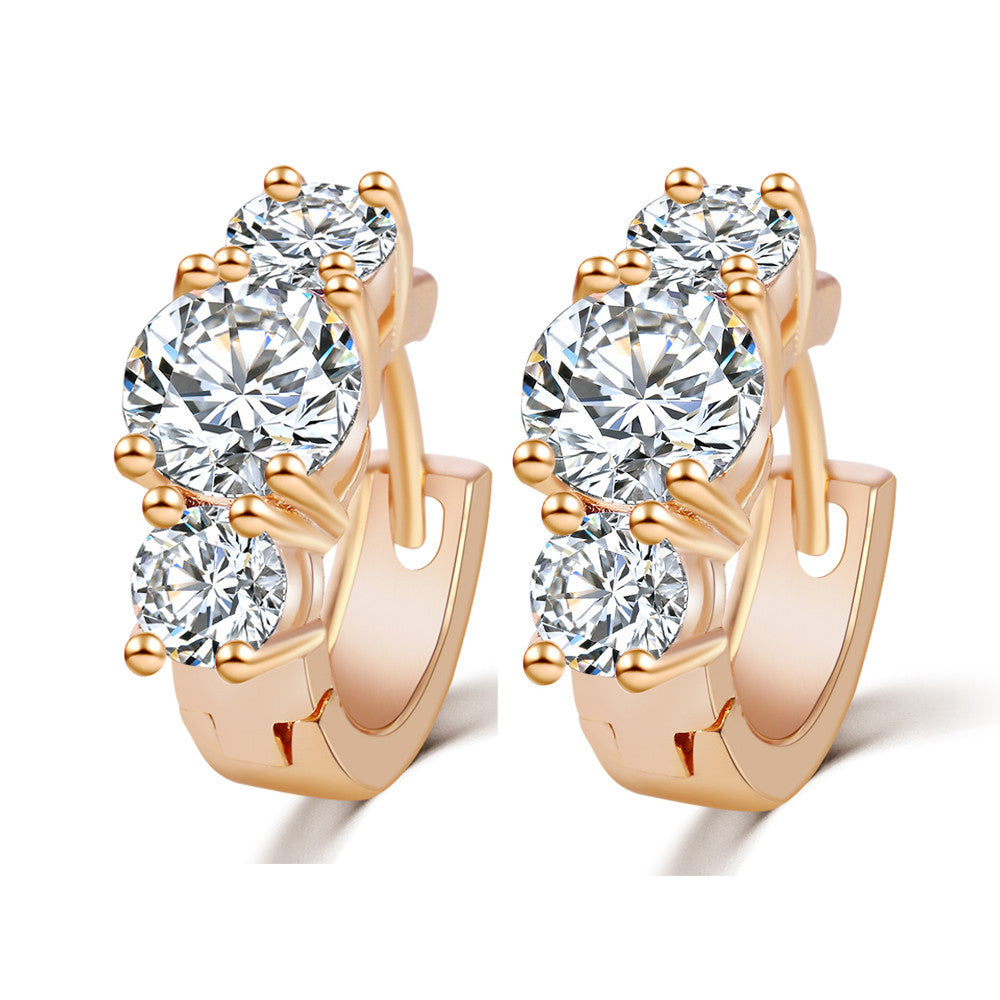 New Arrival Brand Trendy Elegant Charm Gold Color Silver Color Romantic Austria Crystal Stud Earrings Weddings Jewelry