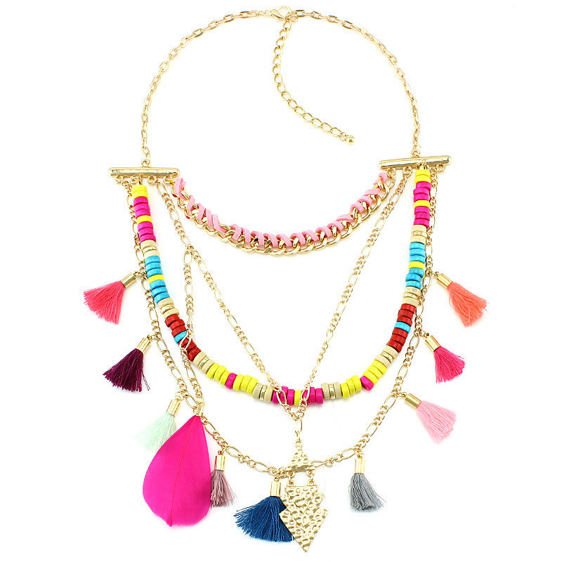 New Arrival Color wood beads Tassel Necklaces & Pendants Fashion Women Jewelry Unique Collar Statement Necklace Accessories