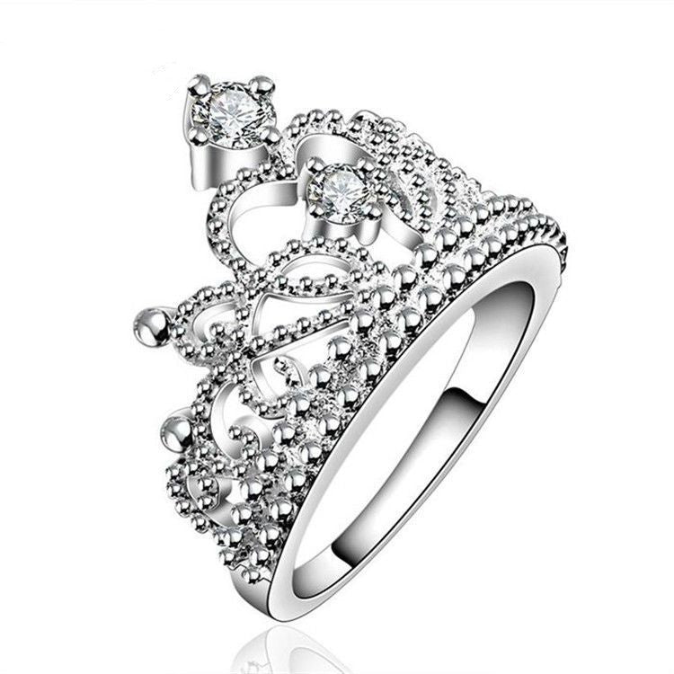 New Arrival Fashion Jewelry AAA+ Cubic Zircon Diamond 925 Silver Crown Rings For Women/Girls Party Wedding Gift