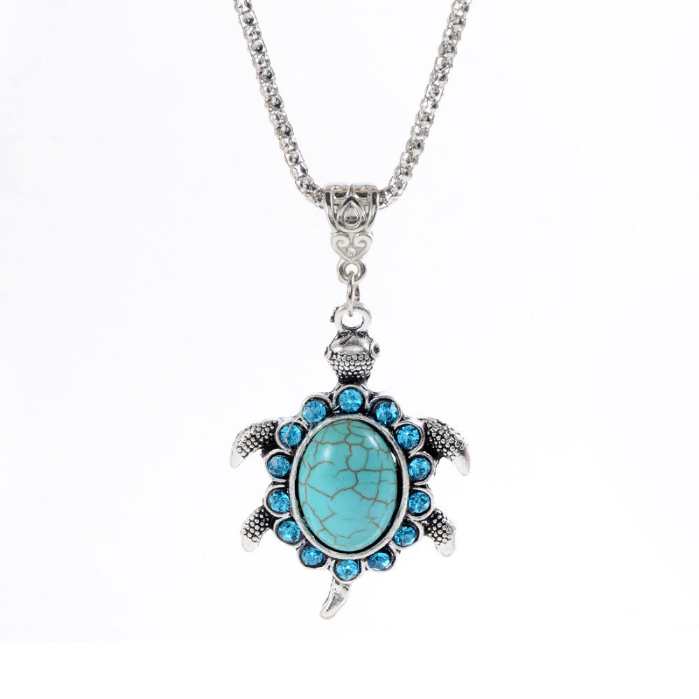 New Arrival Fashion crystal rhinestone blue gem cute animal tortoise Pendant Necklace jewelry for Women charm