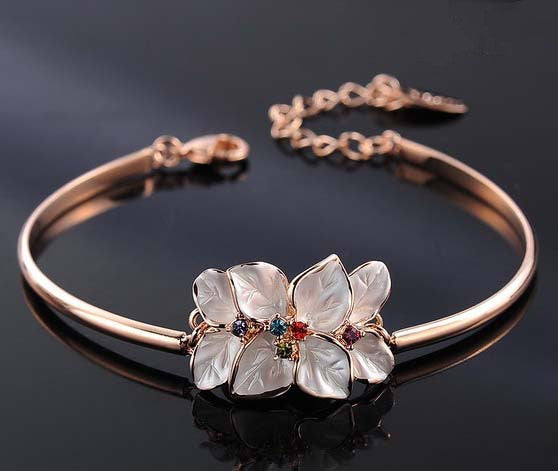 New Arrival Flower Bracelet Bangles With Genuine Austrian Crystal Mother's Day Gift For Her