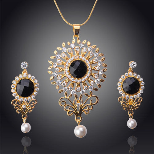 New Arrival Hot Selling High-end Necklace/ Earrings 18k Yellow Gold Plated Austrian Crystal Jewelry Sets
