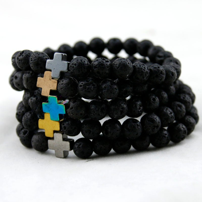 New Arrival Mens Beaded Jewelry 8mm Lava Stone Beads Gallstone Cross Bracelets Party Gift Yoga Jewelry