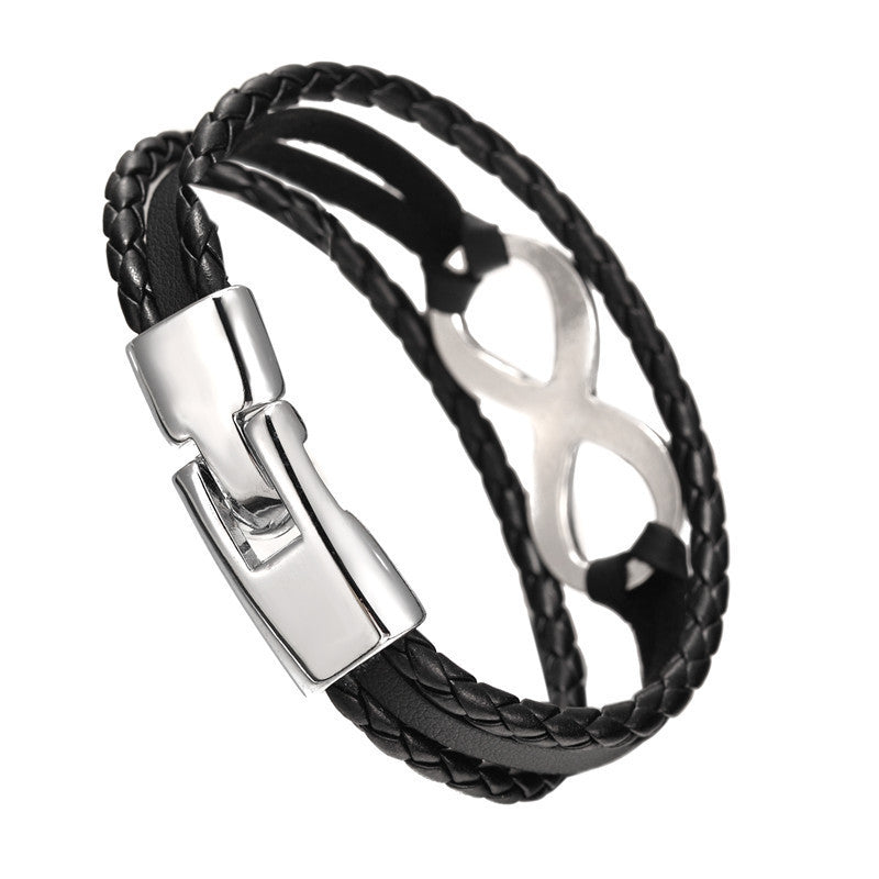New Arrival Silver plated Infinity Bracelet Bangle Genuine Leather Hand Chain Buckle friendship men women bracelet