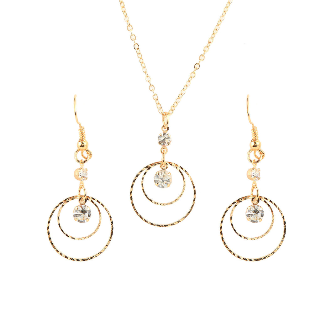 New Arrival Vintage Gold Jewelry Sets for Women Wedding Jewelry Set Round Drop Earrings & Statement Necklace Fine Jewelry