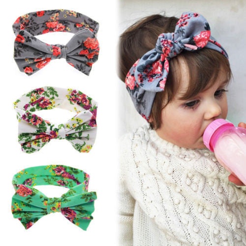 New Baby Girls Toddler Infant Newborn Flowers Print Floral Butterfly Bow Hairband Turban Knot Headband Hair Band Accessories