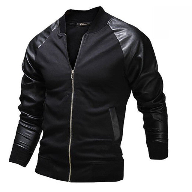 New Casual Jacket Spring Fashion Mens Black Leather Sleeves Slim Fit Baseball Jacket Leisure Men Jackets Blazer Jaquetas