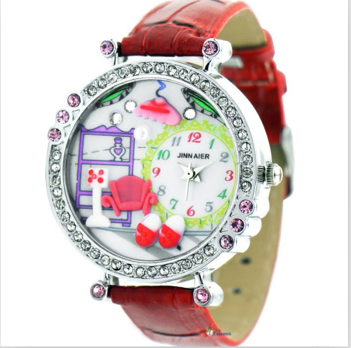 New Cute Cartoon DIY Watch For Children Pu Leather Strap Kids Girls Crystal Gift Quartz Watch