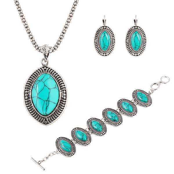 New Design Fashion Vintage jewelry sets Geometry Ellipse Pendants Necklace Chain Bracelets long drop earrings for women