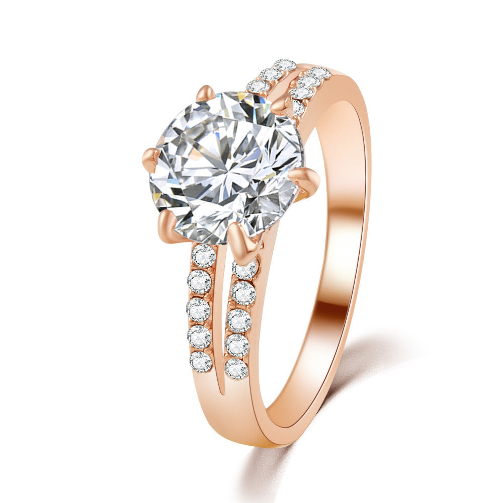 New Design Gold/Silver color Fashion Noble Luxury Elegant Charm gold silver Plated Zircon Crystal Round Rings